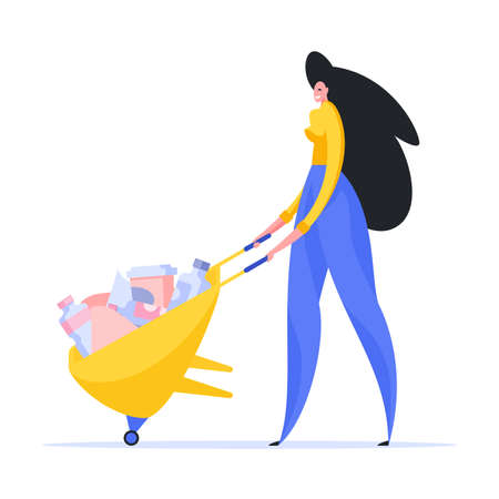 Woman driving wheelbarrow with rubbish illustration. Smiling female character in yellow shirt and blue pants takes out waste barrow. People protecting ecology and cleaning environment vector flat.