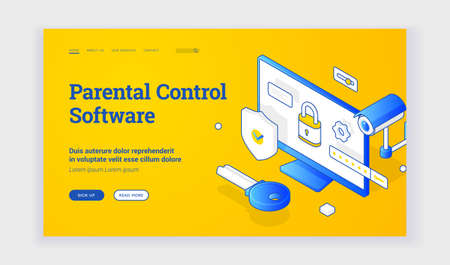 Parental control software. Isometric vector landing page template with blue elements of surveillance and locked home computer representing service for parental control software. Isometric web banner