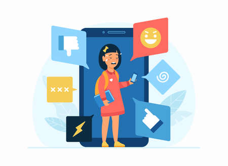 Cyberbullying in social network. Flat vector concept illustration. Cartoon character little depressed teenage girl uses smartphone social apps and crying. Bullying, trolling, internet harassement