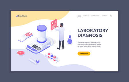 Laboratory diagnosis. Male doctor working in laboratory with medical isometric icons. Isometric web banner, landing page template Vector Illustratie