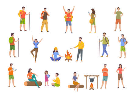 Set of tourists, backpackers, hikers. People having rest outdoors. Family travel. Male and female cartoon characters during hiking adventures. Flat vector illustrations isolated on white background