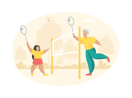 Elderly woman plays badminton with little girl. Grandmother with racket hits shuttlecock towards joyful granddaughter. Playground with stretched net for outdoor activities. Vector flat illustration
