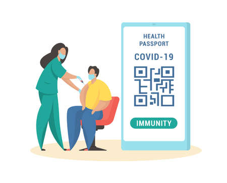 Vaccination for obtaining immune passport. Masked male character injected with coronavirus vaccine. Immunization for travelers with personal qr code in mobile app. Vector flat illustration