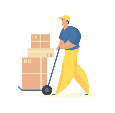 Unloading boxes with goods. Male character in uniform with wheelbarrow carrying crates. Cargo delivery and loading service. Special tools for accelerated placement product. Vector flat illustration.