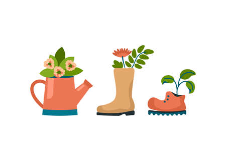 Old shoes like flower pot. Worn out rubber boot and torn shoe with houseplants. Vintage sprinkler with beautiful growing geraniums. Minimalistic boho interior. Vector cartoon illustration