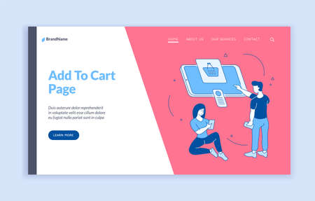 Adding products to online shopping cart. People buy product in mobile application. User friendly interface with fast loading purchases. Available ecommerce on website. Vector home page flat template