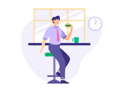 Lunch break at work. Male character in business suit eating hamburger in dining room. Relax during productive day. Appetizing snack for rejuvenation and relaxation. Vector flat illustration