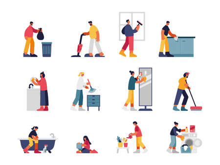 People cleaning house illustration set. Male character vacuums and takes out trash in bag. Woman wipes off dust and washes mirror. Girl cleans bath and puts things in washing machine vector flat.
