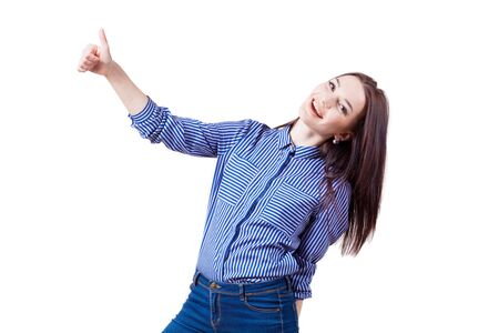 happy girl shows sign of good Stock Photo