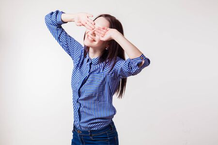 blind woman: the happy girl closed her eyes Palms
