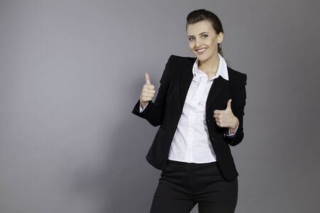 girl shows good class good people happy Stock Photo