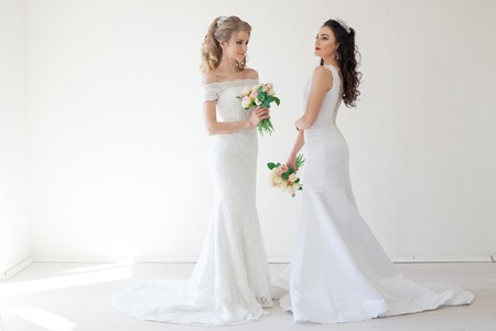 two wedding bride with bouquet wedding Stock Photo