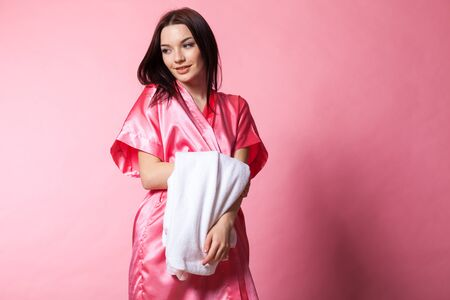 belly bandage: girl in Pink Lingerie with robe
