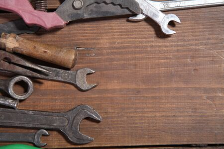reconstruction: construction hammers screwdriver repair tool pliers knives Stock Photo