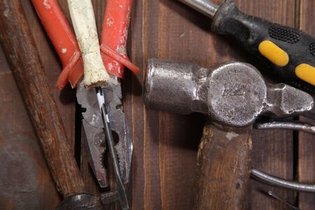 toolkit: construction hammers screwdriver repair tool pliers knives Stock Photo