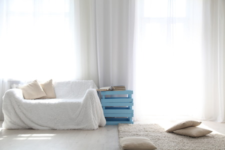 warm shirt: White lounge sofa large Windows and color book