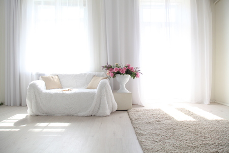 White lounge sofa large Windows and color book