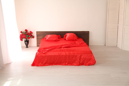 suite: the Interior of the white room with a bed with red
