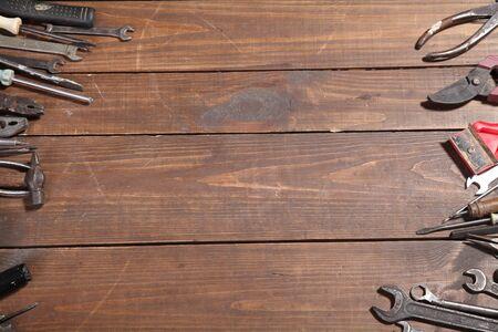assortment: construction hammers screwdriver repair tool pliers Stock Photo