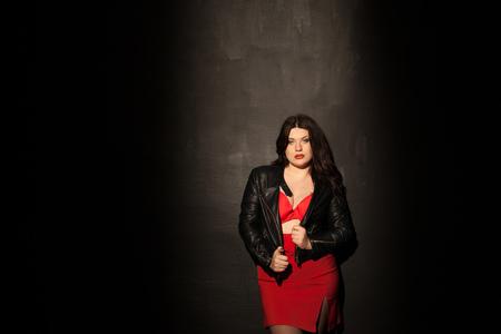 fat woman in red underwear 版權商用圖片