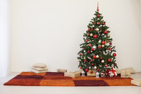Christmas tree in the white room of the House for Christmas Stock Photo