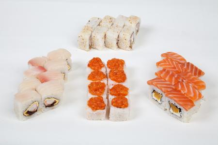 Sushi rolls Japanese food restaurant fish figure on a white background 1 Stock Photo