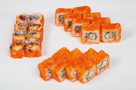 Sushi rolls Japanese food restaurant fish figure on a white background Stock Photo