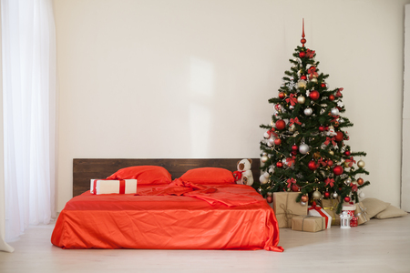 new year Christmas white room with red decoration Christmas tree