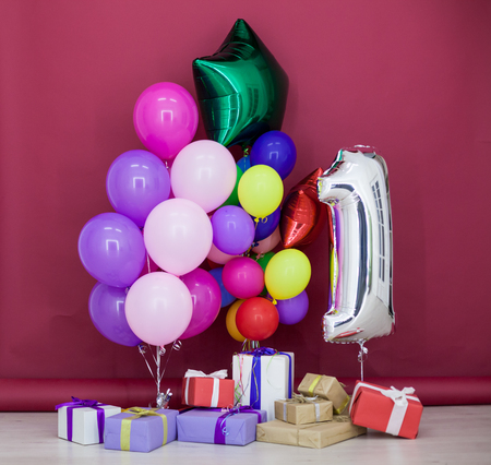 Balloons Of Different Colors With Gifts For Her Birthday Stock Photo