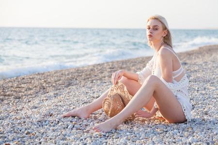 Portrait of beautiful girl in lingerie on the Beach Ocean