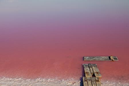Pink Salt water Lake pink background Imagens