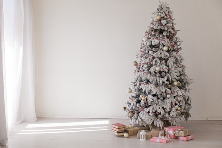 new year with Christmas tree and Gifts Christmas Decor winter