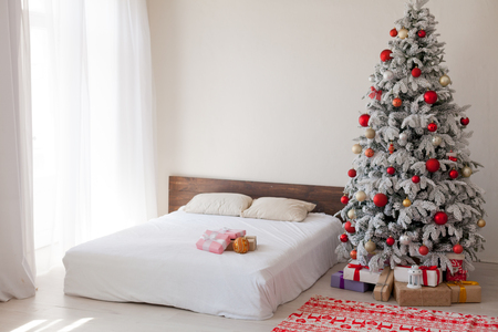 bedroom Christmas presents new year holidays tree