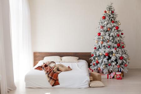 bedroom Christmas presents new year holidays tree