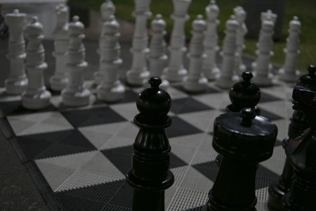 Chess figures on a chessboard game sport