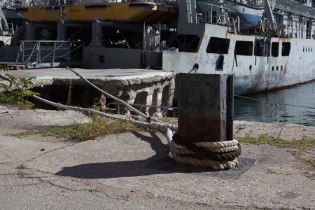 mooring ships ladder rope feed konat winter