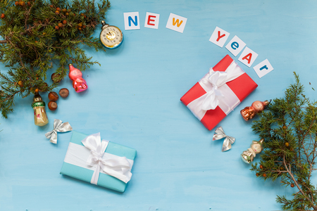 happy new year Christmas background Christmas tree Toys Gifts holidays winter