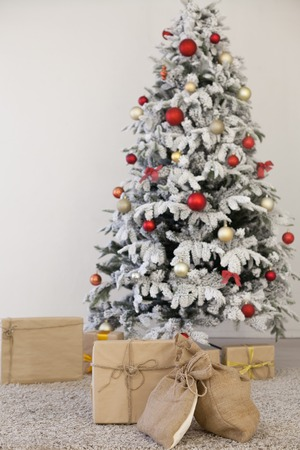 White Christmas tree new year Christmas Interior holidays gifts winter