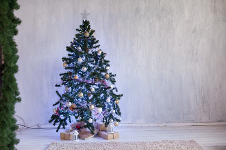 Christmas tree Garland lights new year Christmas Interior holidays gifts winter