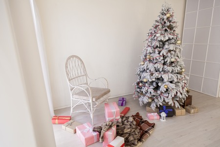 Christmas tree white interior room new year gifts holidays