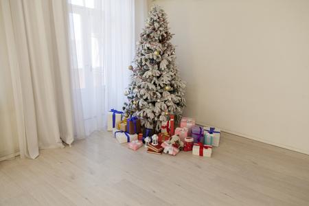 Christmas tree decor Interior white room new year gifts holidays