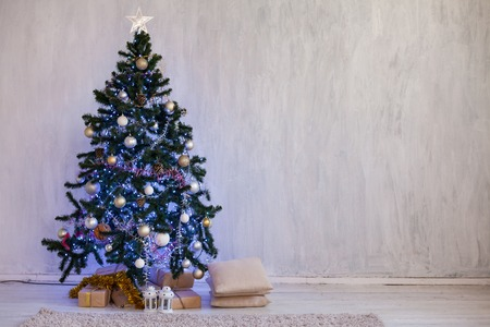 Christmas background Interior new year tree gifts winter postcard