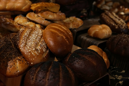 different bread rolls on the table bakeries Banco de Imagens
