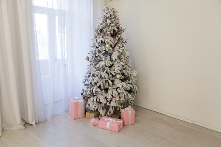 Christmas Home Interior with White Christmas tree gifts new year