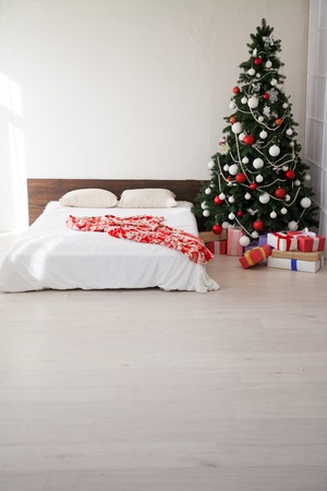 Christmas bedrooms with bed gifts new year tree postcard