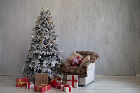 Christmas Home Interior Christmas tree with gifts holiday new year winter