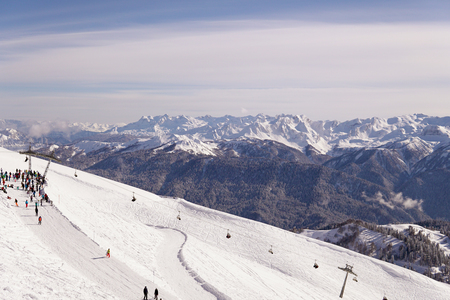 Snow snowboard skiers ski resort mountain landscape