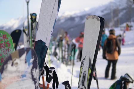 Alpine snowboards winter sports resort snow mountains,
