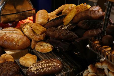 fresh baked breads in the bakery bread Stok Fotoğraf