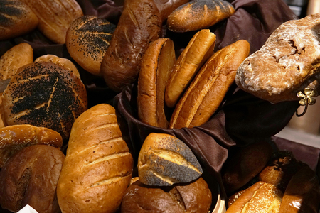 fresh baked breads in the bakery bread loaf Stok Fotoğraf